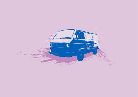 volkswagen: Retro illustration of old stylish Volkswagen Transporter. Vector