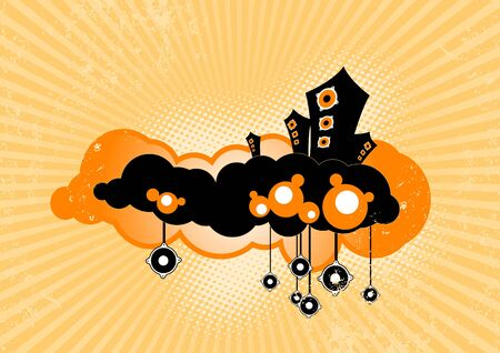 Stylish speakers floating on clouds. Vector art photo