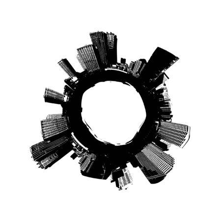 rises: City around the world. Vector art Stock Photo