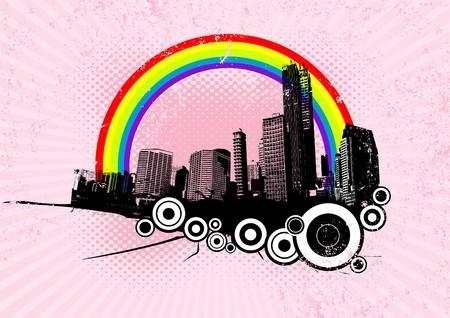 Retro city with rainbow on pink background. Vector art. photo