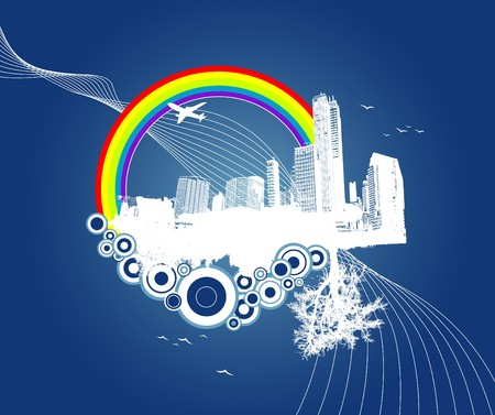 City and nature with circles on blue background. photo