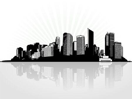 Ciudad con la reflexión. Ilustraciones vectoriales  Foto de archivo - 6191101