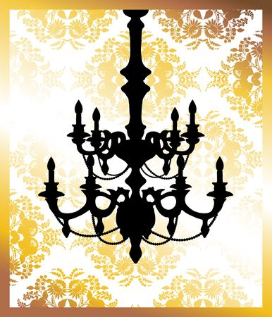 Chandelier on golden flower pattern background with place for your text. photo