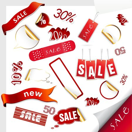 Set of sale tags. Vector photo