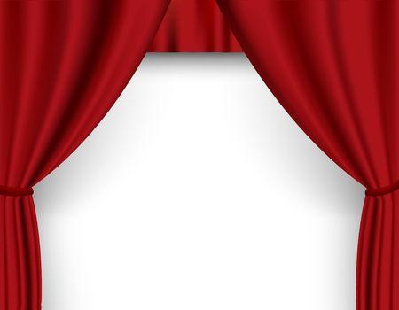 Rideau rouge dans le théâtre.