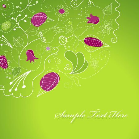 Purple green illustration with flowers. Vector
