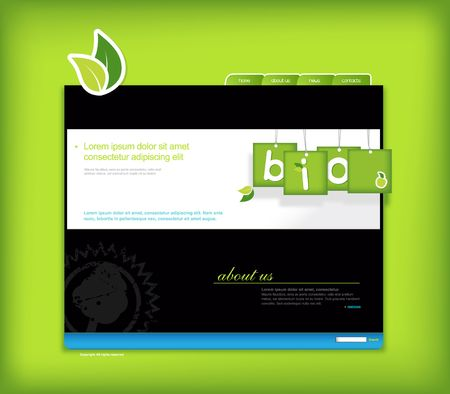 Website template with green background. Illustration