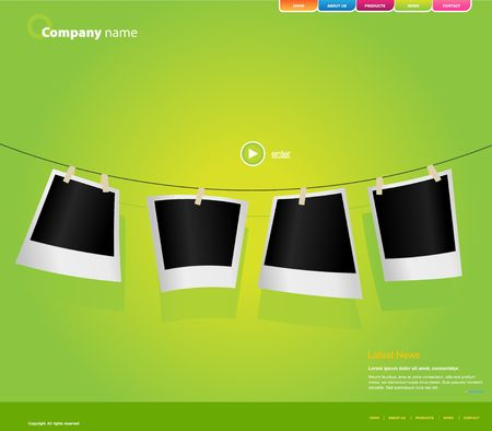 webpage: Website template with photos.