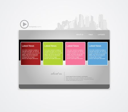 net bar: Website template with city. Illustration