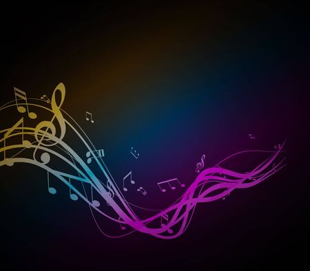 pop music: Colored musical notes background.