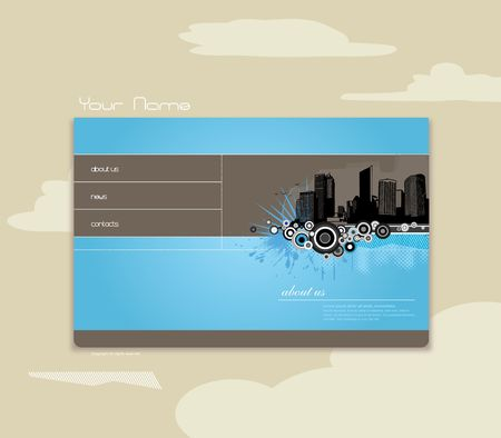 Blue background with city and place for your text. Vector