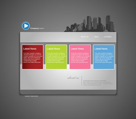 Website template with city. Vector