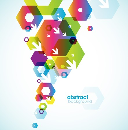 blue arrow: Abstract colored background with circles.
