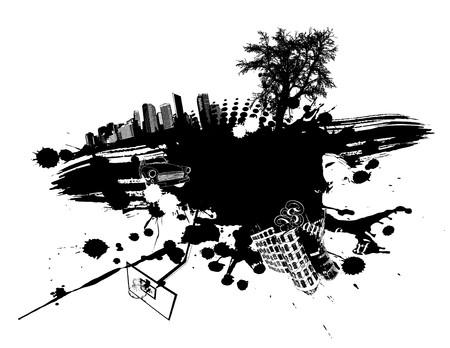 pollution art: abstract black illustration. Illustration