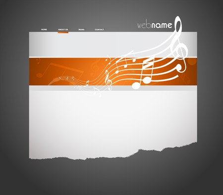 Musical website template. Vector