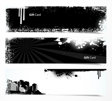 Set of black and white banners. Illustration