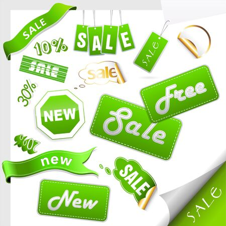 promotional: Set of sale icons, labels, stickers. Illustration