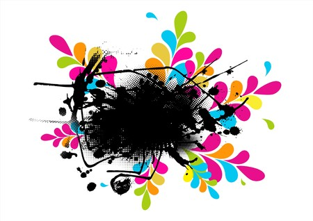 Abstract illustration with paint splash and colored leafs. Vector