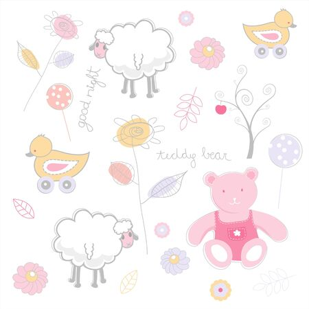 toy bear: Seamless funky cartoon pattern.
