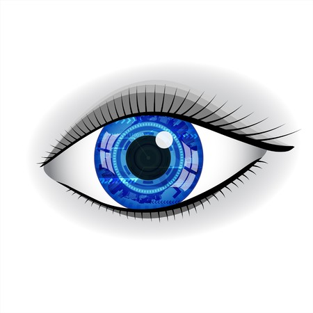 round eyes: Human blue technology eye with reflection.