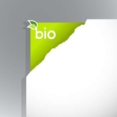 Corner on paper with bio sign. Vector