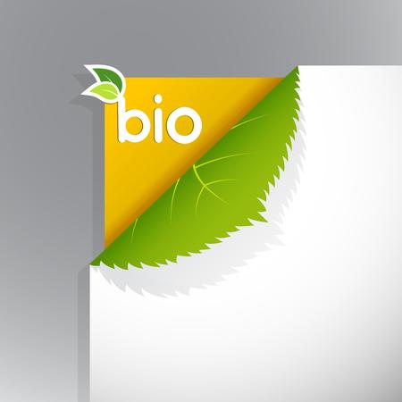 Ecke auf Papier mit Bio-Zeichen.