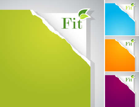 Set of teared papers with fit sign. Vector