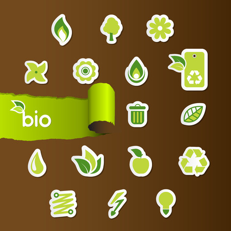 Set of ecology icons on brown paper. Vector