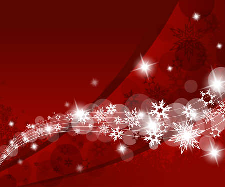 happy new year text: Christmas red background with snow flakes.