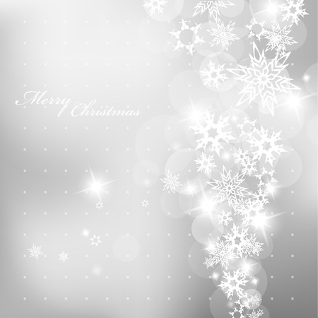 happy holidays text: Christmas silver background with snow flakes. Illustration