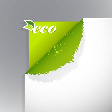 Ecke auf Papier mit Eco Schild.