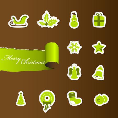 Colorful Christmas icons. Stock Vector - 8569630