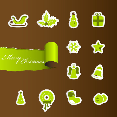Colorful Christmas icons. Stock Vector - 8569630
