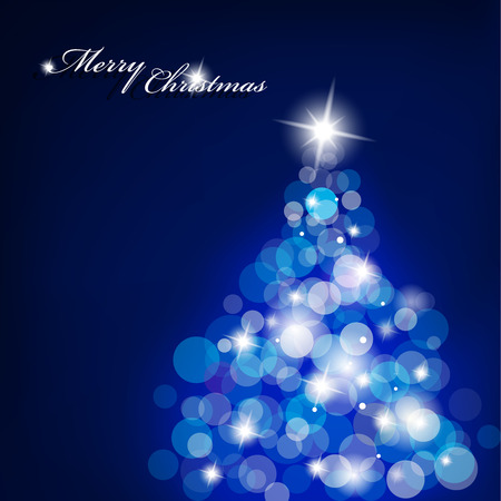 Christmas tree with blurred lights on blue background. Vector