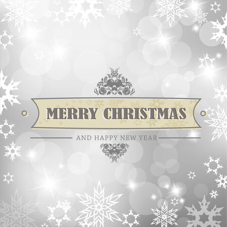 Christmas silver background with snow flakes. Stock Vector - 8569653