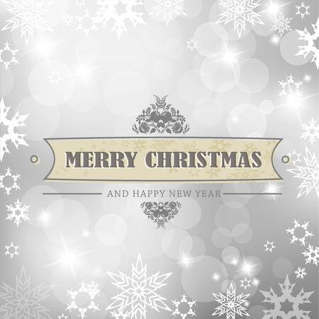Silber Weihnachten Hintergrund mit Schneeflocken.