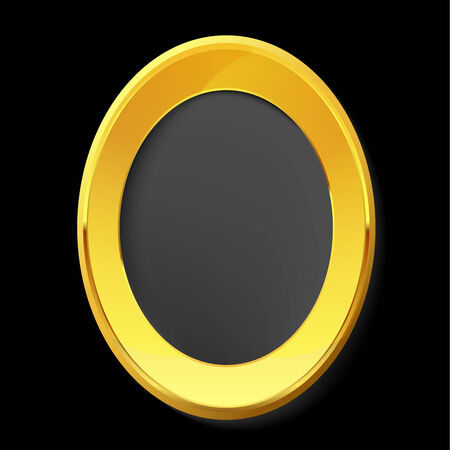 gold picture frame: Empty golden picture frame.