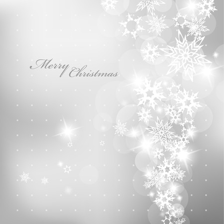 Christmas silver background with snow flakes. Ilustracja