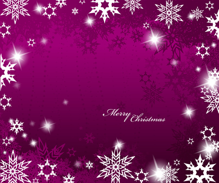 Christmas purple background with snow flakes. Vector