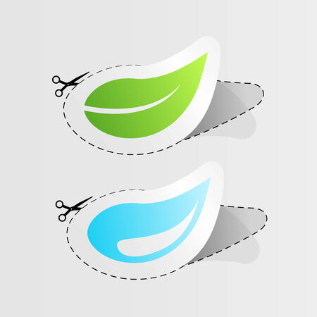Set of two sticker with water drop and leaf. Vector