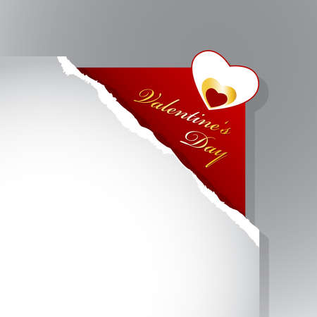 teared: Corner with teared paper for Valentines day.