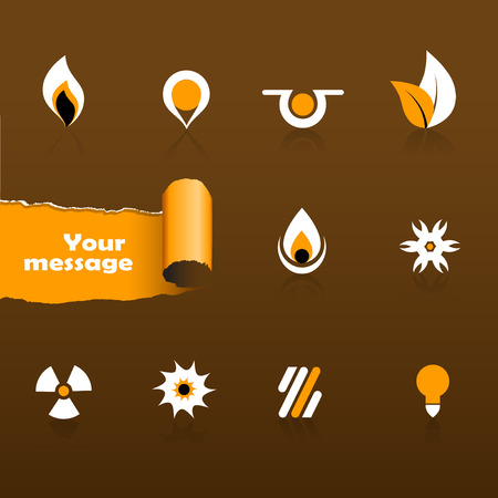 Set of black and orange icons Vector