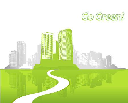 garden city: Ciudad con pasto verde. arte Vectores