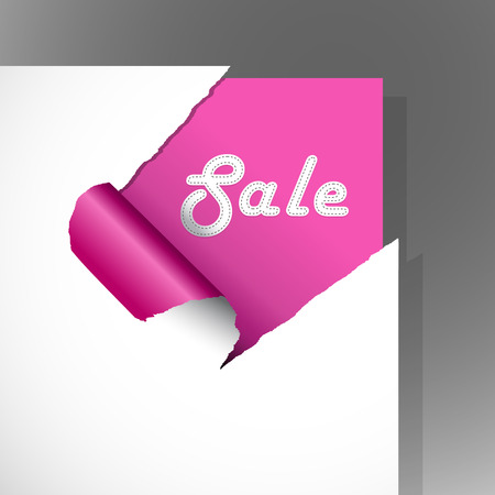 Teared pink paper with text. Stock Vector - 8643346