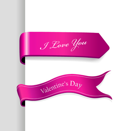 Set of Valentines Day ribbons. Vector