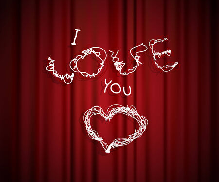 Valentine heart and text created from lines front of the theatre curtain. Vector
