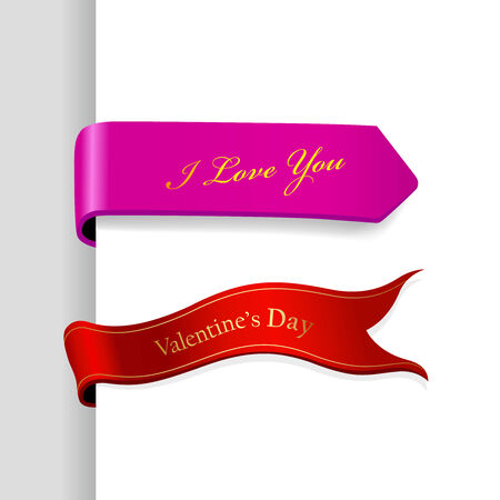Set of Valentines Day ribbons. Ilustracja