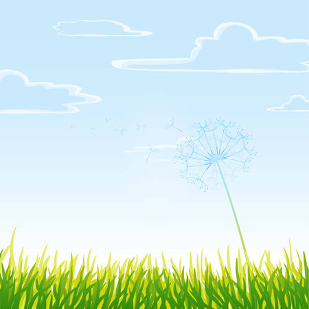 Meadow with cloudy sky. Vector