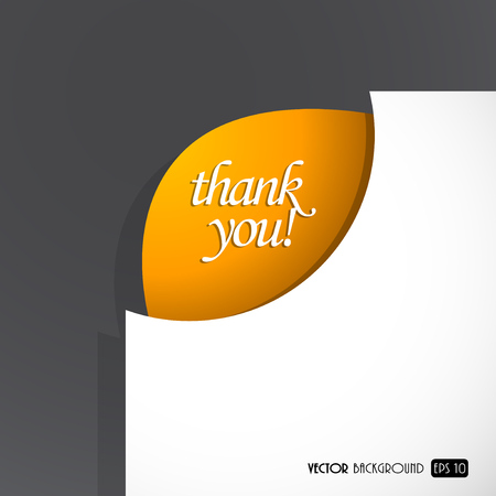 Paper sheet with thank you sign in the corner. Vector