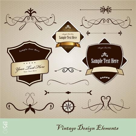 Set of vintage design elements. Vector